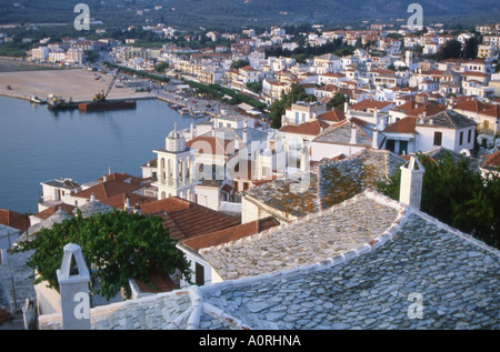 Skopelos town from above looking down on tiled roofs number 1652 - Stock Photo