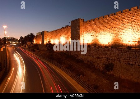Night time lights of traffic Jaffa Gate Old Walled City Jerusalem Israel Middle East - Stock Photo