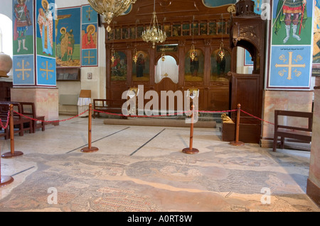 Mosaic map dating from 560 AD on the floor of St George s Church Madaba Jordan Middle East - Stock Photo