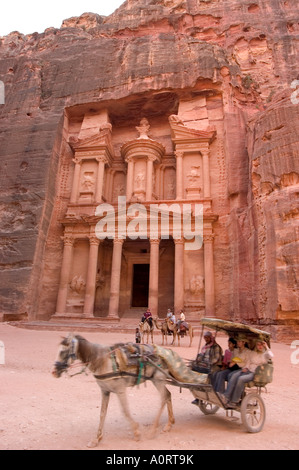 Horse and carriage in front of the Treasury Al Khazneh Petra UNESCO World Heritage Site Wadi Musa Mousa Jordan Middle - Stock Photo