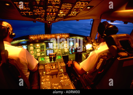 Boeing 757 Flight Deck at Sunset - Stock Photo