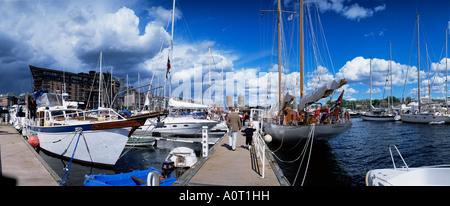 Constitution Day on May 17th at Aker Brygge Oslo Norway Scandinavia Europe - Stock Photo