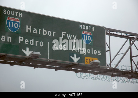 Freeway sign in Los Angeles California - Stock Photo