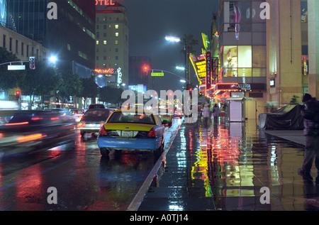 Hollywood Boulevard in the rain - Stock Photo