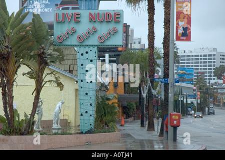 A girly bar on Sunset Boulevard in Hollywood California - Stock Photo