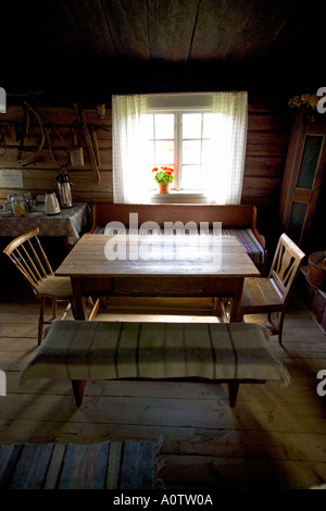 Inside Kvarntorp a Traditional Finnish House near Torsby in Varmland County Sweden - Stock Photo