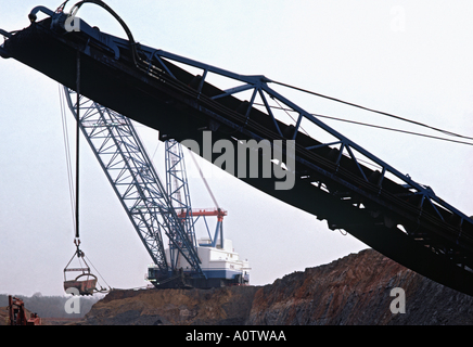 enormous electric dragline shovel and conveyor belt at Texas open pit lignite coal mine - Stock Photo