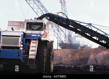 Huge coal haul truck with enormous electric dragline shovel and conveyor at Texas open pit coal mine - Stock Photo