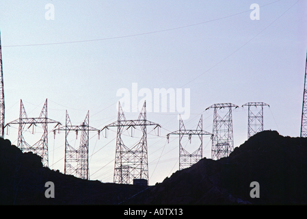 Electric transmission pylons at the Hoover dam power grid - Stock Photo