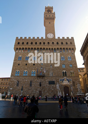 Palazzo Vecchio old palace front view Piazza della Signoria Florence Tuscany Italy - Stock Photo