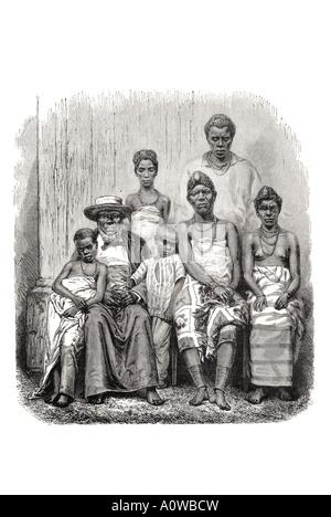 chief kringer family Gaboon Gabon Gabonese Africa African extended wife children pose sat sit sitting formal leader - Stock Photo