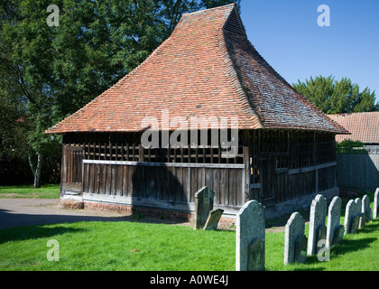 Bell cage, St. Mary's, East Bergholt, Suffolk. - Stock Photo