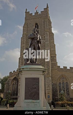 Gainsborough statue, Sudbury, Suffolk. - Stock Photo
