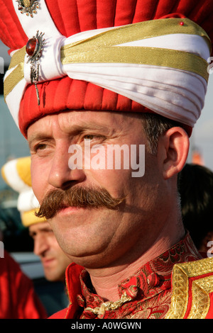 MEMBER OF THE OTTOMAN MILITARY BAND, ISTANBUL, TURKEY - Stock Photo
