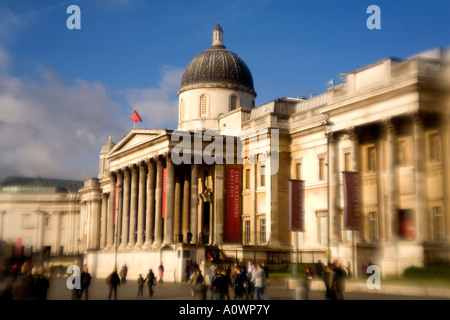 The National Gallery in Trafalgar Square in London England - Stock Photo