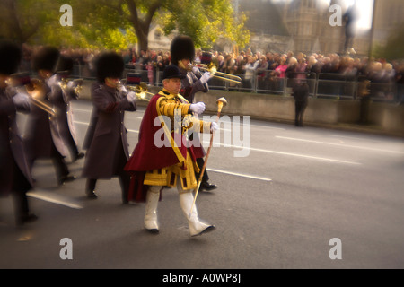 Bandsmen marching past the Cenotaph in London on remembrance day - Stock Photo