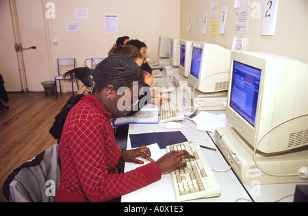 Students in a computer class at the Sorbonne in Paris France  - Stock Photo