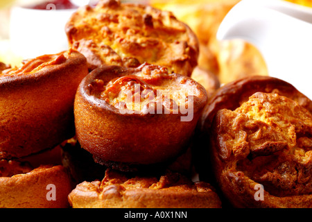 Home Cooked Fresh Crispy Yorkshire Puddings With No People - Stock Photo
