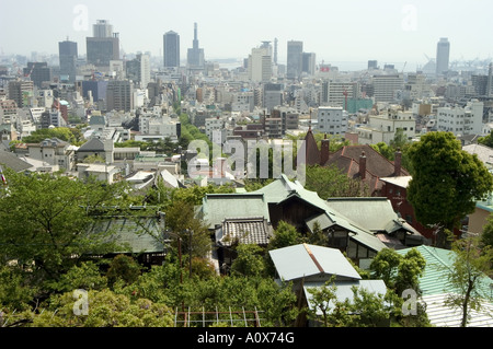 Panoramic view of city centre Kobe city Kansai Honshu island Japan Asia - Stock Photo
