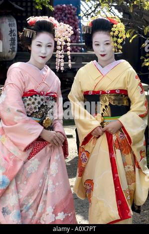 Geisha maiko trainee geisha in Gion Kyoto city Honshu Japan Asia - Stock Photo