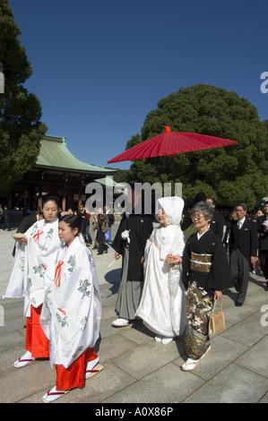 Wedding ceremony procession Meiji Shrine Harajuku Tokyo Honshu Japan Asia - Stock Photo