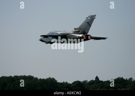 RAF Tornado GR4 flies off on afterburner RIAT 2005 RAF Fairford Gloucestershire England UK - Stock Photo