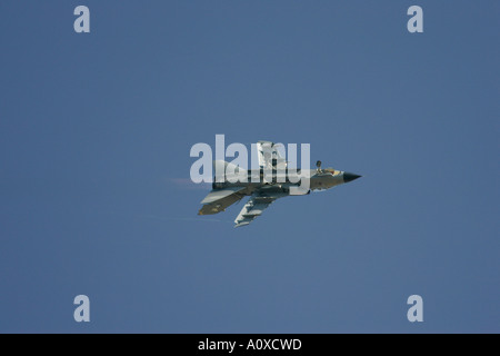 RAF Tornado GR4 flies inverted with afterburner and undercarriage lowered contrail RIAT 2005 RAF Fairford - Stock Photo