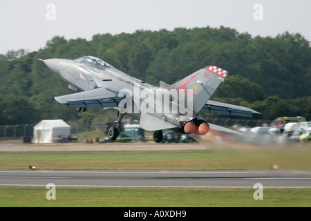 RAF Tornado F3 RIAT takes off from runway with full afterburner 2005 RAF Fairford Gloucestershire England UK - Stock Photo