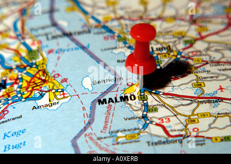 Map Pin pointing to Malmo Sweden on a road map Stock Photo