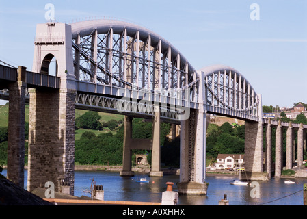 Saltash railway bridge over River Tamar built by Brunel Cornwall England United Kingdom Europe - Stock Photo