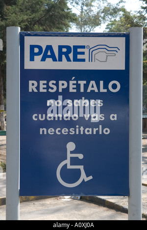 Mexican disabled parking bay sign in Mexico City - Stock Photo