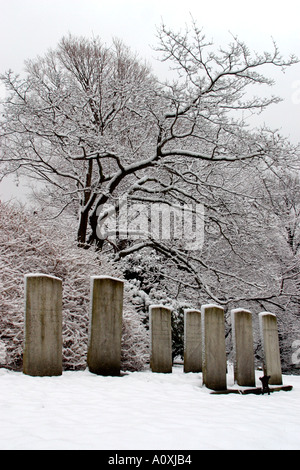 Mount Auburn Cemetery in Winter Cambridge Massachusetts - Stock Photo
