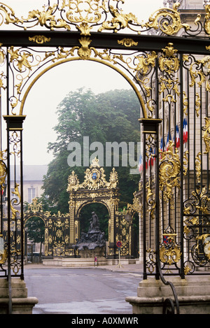 Wrought iron by Lamor restored Place Stanislaus UNESCO World Heritage Site Nancy Lorraine France Europe - Stock Photo