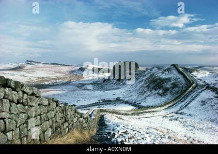 Hadrian s Wall UNESCO World Heritage Site in snowy landscape Northumberland England United Kingdom Europe - Stock Photo