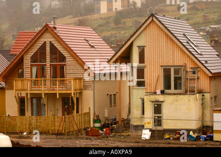 Self build ECO homes under construction at the Ashley Vale site in Bristol England UK GB - Stock Photo