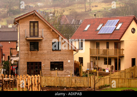 Self build ECO homes under construction at the Ashley Vale site in Bristol England UK - Stock Photo