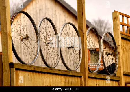 Self build ECO homes under construction at the Ashley Vale site in Bristol fence decoration England UK GB - Stock Photo
