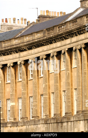 Royal Crescent Bath started in 1767 by John Wood the Younger the crescent took eight years to finish - Stock Photo