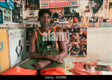 CUBA Havana Cuba s self proclaimed number 1 hip hop fanatic Miguel Acosta at home - Stock Photo