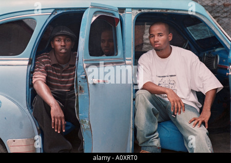 CUBA HAVANA Cuban Hip Hop artists Adonis Soler 18 left and William Yanqui 19 right - Stock Photo