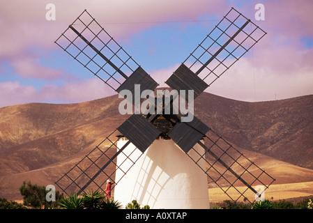 Old windmill near Antigua Fuerteventura Canary Islands Spain Europe - Stock Photo