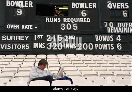 UK ENGLAND LONDON Spectator reading newspaper at a County Cricket match held at The Oval. Empty seats all around - Stock Photo