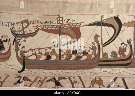 Invasion fleet William steers ship with signal lantern on mast and stern Bayeux Tapestry Normandy France Europe - Stock Photo