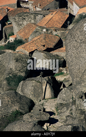Village set on granite hill Monsanto Castelo Branco Beira Baixa eastern area Portugal Europe - Stock Photo