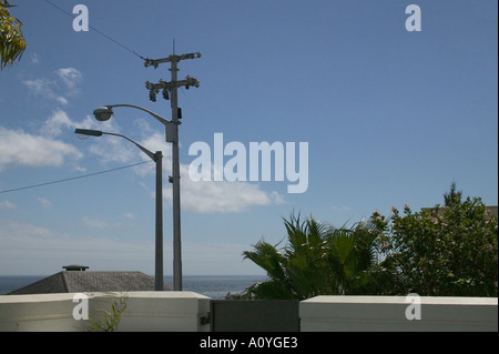 view of sky and communicatin cable - Stock Photo