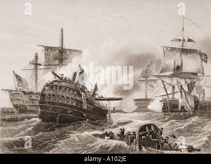 Lord Howe's victory over the French June 1 1794. Third Battle of Ushant - Stock Photo