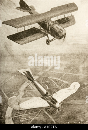 Aerial duel on the western front - Stock Photo