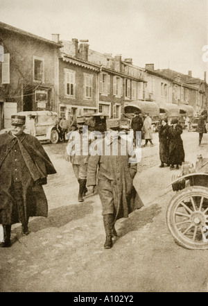 The Defender of Verdun General Petain centre walking with General Joffre on his right - Stock Photo