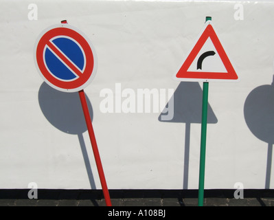 children and public road safety campaign with traffic signs - Stock Photo