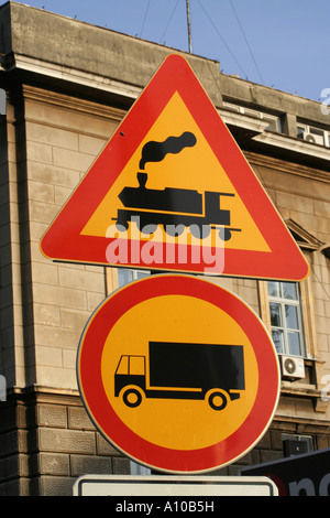 Sign near the railway station in Rijeka - Stock Photo